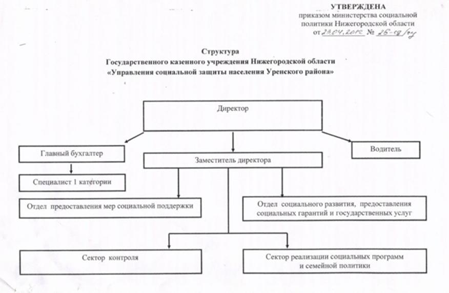 Структура учреждений системы социальной защиты.  Материнский капитал.  Устав для УСЗН Уренского района.